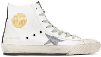 Golden Goose White and Grey Canvas Francy Sneakers