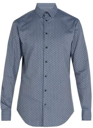 Giorgio Armani Triangle Print Cotton Shirt - Mens - Blue Multi