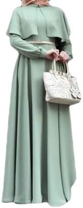 Wofupowga Women's Wraps Abaya Muslim Poncho Long Sleeve Dubai Solid Color Long Dress L