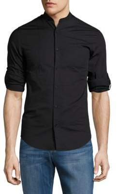 Highline Collective Band Collar Shirt with Roll Tab Sleeves