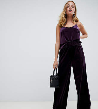 Y.A.S Petite high waisted velvet cropped trouser