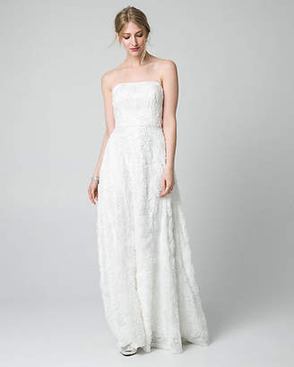 Le Château Soutache Lace Strapless Gown