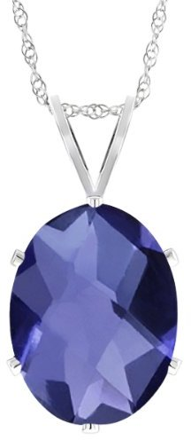 Gem Stone King 0.65 Ct Natural Oval Checkerboard Shape Iolite 925 Sterling Silver Pendant