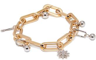 Burberry Crystal charm gold and palladium-plated bracelet