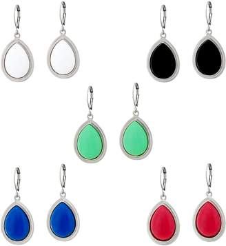 Joan Rivers Classics Collection Joan Rivers Set of 5 Bright Teardrop Cabochon Earrings