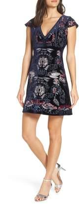 Foxiedox Yolanda Velvet Embroidered Dress