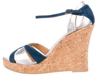 Jean-Michel Cazabat Metallic Wedge Sandals