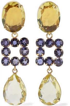Bounkit Gold-Tone Quartz And Lolite Earrings