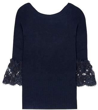 Oscar de la Renta Corded lace-trimmed wool pullover