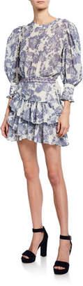 LoveShackFancy Lorelei 3/4-Sleeve Floral Short Dress