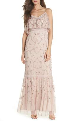 Adrianna Papell Embellished Mesh Popover Gown