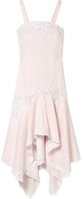 Jonathan Simkhai Broderie Anglaise-trimmed Striped Cotton And Silk-blend Dress - Pastel pink