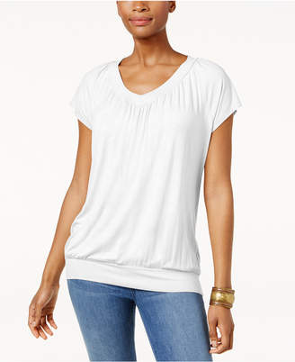 JM Collection Petite Banded-Hem Top