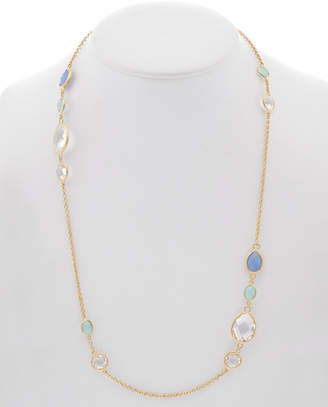 Rivka Friedman 18K Clad Chalcedony & Rock Crystal Station Necklace