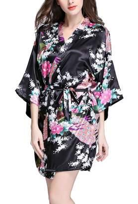 2149f62943 FEOYA Women s Kimono Robe Satin Peacock Bathrobe Short Silk Bridal Robe S