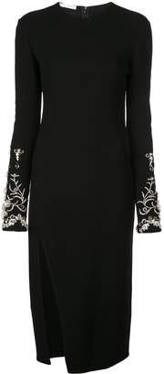 Oscar de la Renta crystal embellished sleeve dress