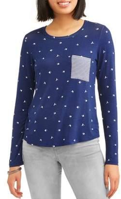 Self Esteem Juniors' All Over Printed Raglan Sleeve Contrast Pocket T-Shirt