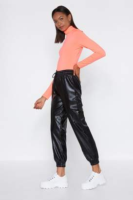 Nasty Gal Womens Feeling Active Faux Leather Joggers - Black - S, Black