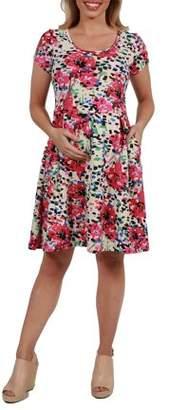 24/7 Comfort Apparel Laura Pink Floral Maternity Mini Dress