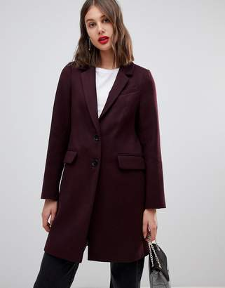 Warehouse single breasted coat in berry