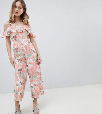Glamorous Petite Jumpsuit With Ruffle Layer In Floral