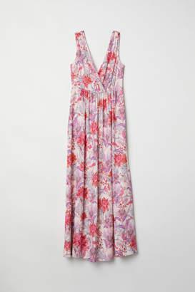 H&M Long V-neck Dress - Pink