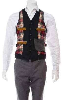 DSQUARED2 Leather-Accented Wool Vest