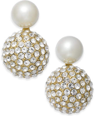 Kate Spade Gold-Tone Imitation Pearl and Fireball Drop Earrings
