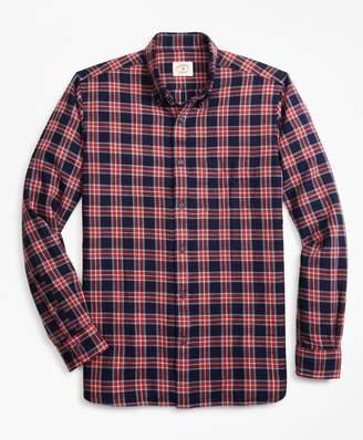 Brooks Brothers Indigo-Dyed Plaid Cotton Twill Sport Shirt
