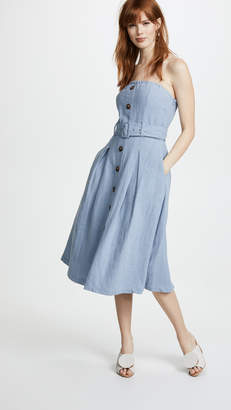 Moon River Button Front Strapless Dress