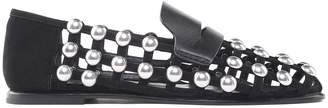 Alexander Wang Sam Studded Leather And Suede Caged Loafers