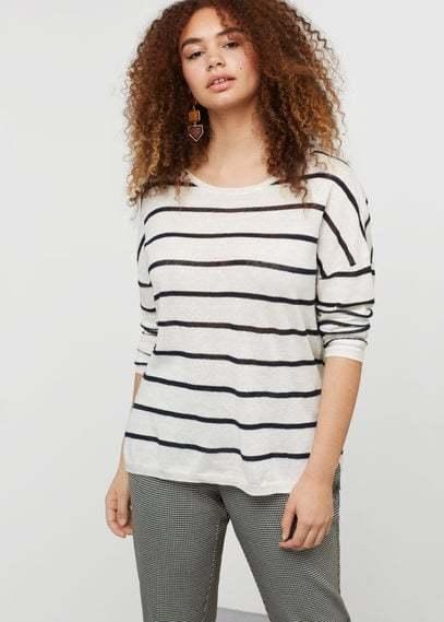 Violeta BY MANGO Striped cotton linen-blend sweater
