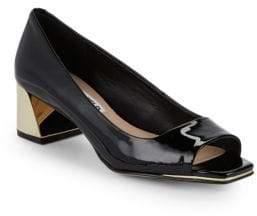 Patent Leather Block Heel Pumps