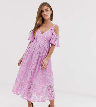 Asos Pink Lace Midi Dress with Eyelet Tape