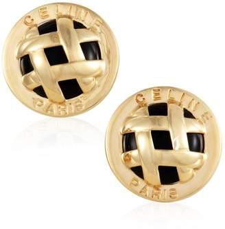 Celine 18K Yellow Gold and Onyx Lattice Clip-on Earrings
