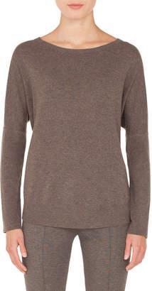 Akris Punto Round-Neck Long-Sleeve Oversized Cashmere-Blend Sweater