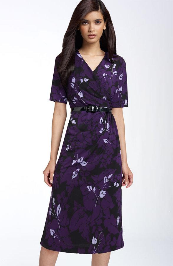 Donna Ricco Print Surplice Dress (Plus)