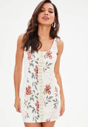 Missguided White Faux Leather Embroidered Bodycon Dress