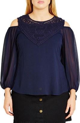 Plus Size Women's City Chic 'Romantic Motif' Cold Shoulder Top $69 thestylecure.com