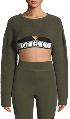 Cushnie et Ochs Nicolette Crewneck Long-Sleeve Cropped Top
