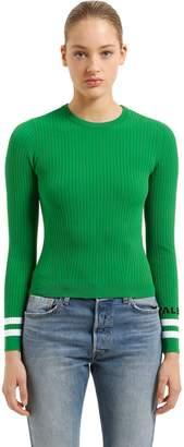 Valentino Logo & Striped Cuffs Rib Knit Sweater