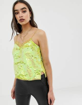 Asos DESIGN Cami In Sequin Embellishment With Lace Trim