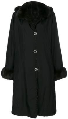 Liska contrast collar and cuff coat