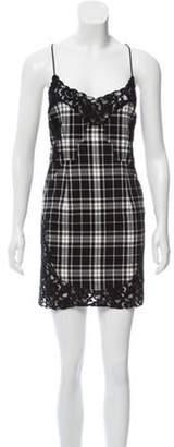 Philipp Plein Plaid Sleeveless Mini Dress Black Plaid Sleeveless Mini Dress