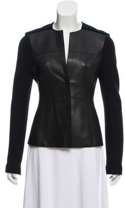 Akris Leather-Accented Wool-Cashmere Jacket