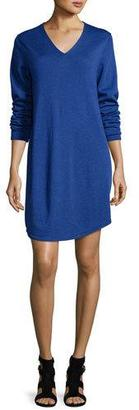 Eileen Fisher Long-Sleeve V-Neck Merino Jersey Dress, Petite $258 thestylecure.com