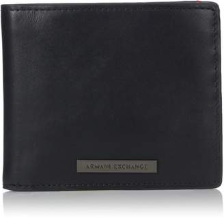 Armani Exchange A|X  Men's Leather Bifold Wallet With Logo Plate
