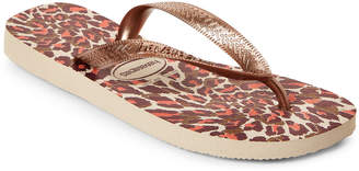 Havaianas Beige & Rose Gold Slim Animal Flip Flops