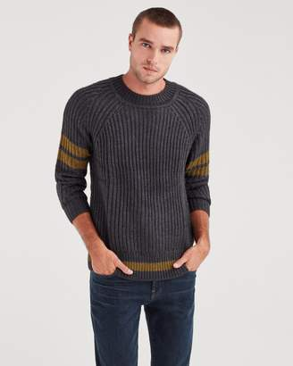 7 For All Mankind College Military Sweater in Charcoal and Olive Stripe