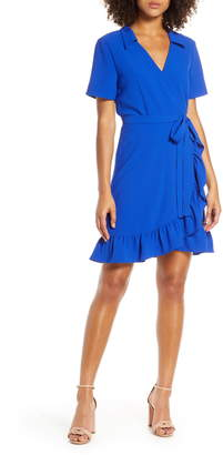 Charles Henry Ruffle Collared Crepe Wrap Dress